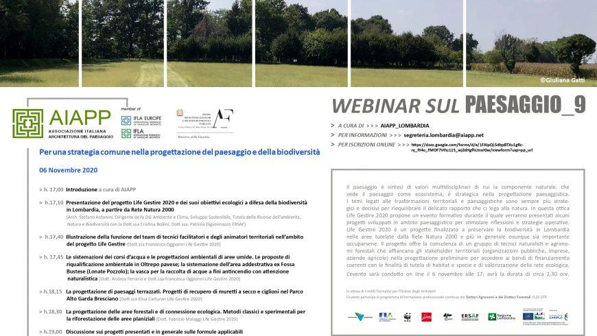 Per una strategia comune nella progettazione del paesaggio e della biodiversità – Webinar