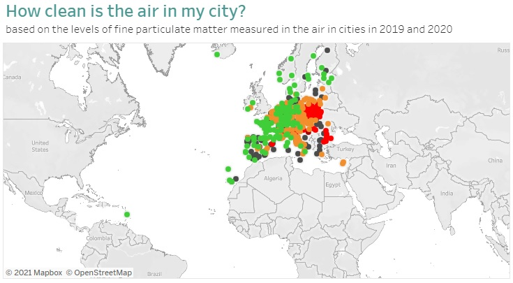 A European city air quality viewer allows you to check long term air pollution levels where you live