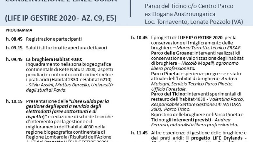 La gestione degli habitat di brughiera: attività di conservazione e linee guida – Parco del Ticino