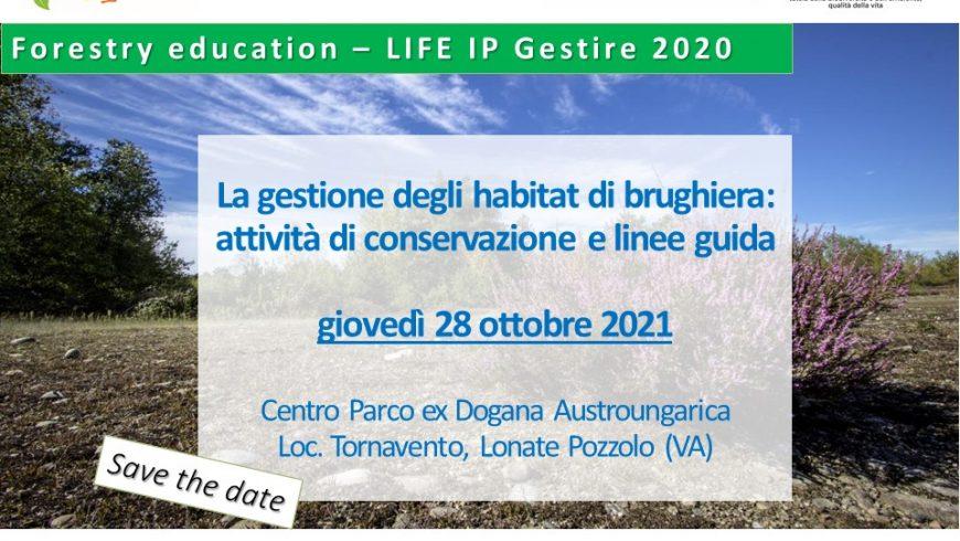 """Incontro formativo """"La gestione degli habitat di brughiera: attività di conservazione e linee guida"""" – 28 ottobre 2021"""